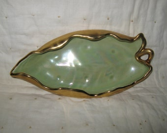 Candy Dish Leaf Shaped Trimmed With Genuine 22 Karat Gold