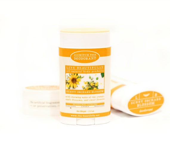 Natural Deodorant, Sunny Orchard Blossom - Aluminum Free Deodorant - Ripe Orange, Apple Blossoms, Spiced Flowers - Natural Body