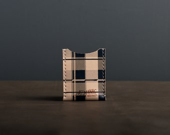 Leather Card Case / Wallet - Navy Plaid
