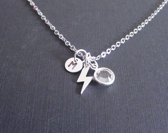10% Off-Personalized Birthstone, Initial, Lightning Bolt Sterling Silver Necklace, bridesmaids gift, mother's jewelry