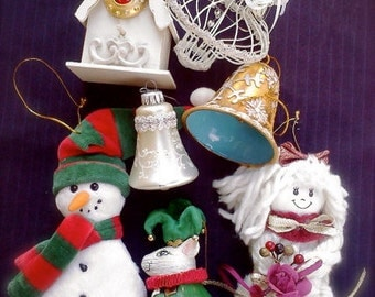 vintage Christmas ornaments, vintage mouse court jester, vintage gold cloisonné bell, mercury glass bell