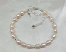 Girls Pink Pearl Bracelet Girls Silver Cross Bracelet Baby Bracelet Adjustable Bracelet 100% 925 Sterling Silver Bracelet BuyAny3+Get1 Free