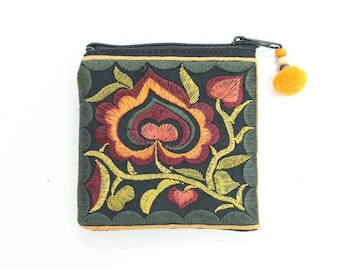 Flower Coin Pouch Handmade Embroidered Fabric Thailand (BG4573CP-OF)