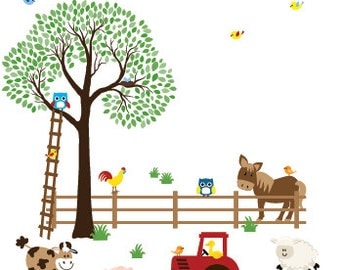 Nursery decal farm animals apple tree decal horse wall sticker tractor decal childrens wall art