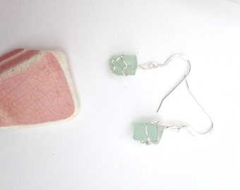 Sterling Silver Small Aqua Seaglass Earrings