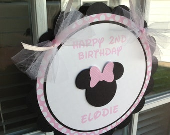 Minnie Mouse Inspired Door Sign Light Pink and White Polka Dots