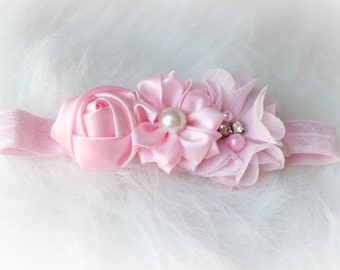 newborn baby photography prop-light pink elastic headband with flowers, baby shower gift,baby photo prop, 0-3 mo headband, photography prop