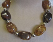 Modernist Choker HUGE Faux Agates Stones Nuggets BOLD Boho Tribal Earth Tones Chunky Oversized Statement Necklace Neutrals Brown Gold