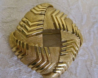 SALE Monet Brooch 60s Modernist Art Deco Gold Tone Palm Frond Chevron Abstract Square Circle Pin Signed Collectible