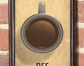 Antique Finish Coffee On or Off Switch Vintage Style Wall Plaque Sign