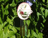 Blue Ridge Pottery Tea Cup and Saucer Wind Chime, Glass Garden Art with stained glass chimes, glass yard art, Unique gift idea, gift for her