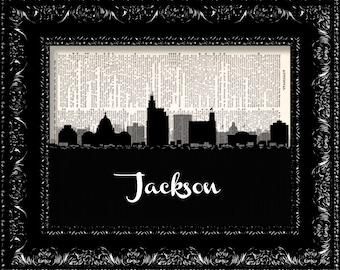 Jackson Mississippi Skyline Map -  Vintage Dictionary Print Vintage Book Print Page Art  Vintage Book Art