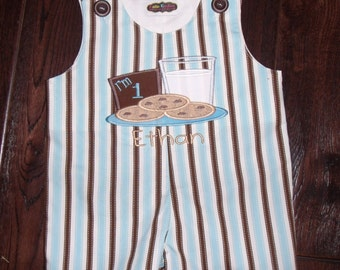 Boys Milk and Cookie Romper, Milk and Cookie Birthday Overall, Milk Cookie Birthday,  Milk Cookies Personalized