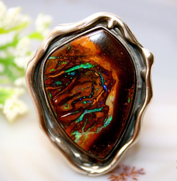 Items Similar To Opal Ring Exquisite Braided Opal: Items Similar To Opal Ring Sterling Silver Gemstone Ring