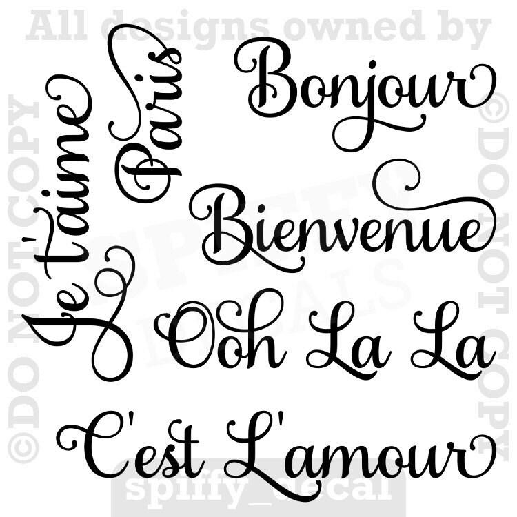 Paris France Ooh La La Bonjour Theme Vinyl Wall By