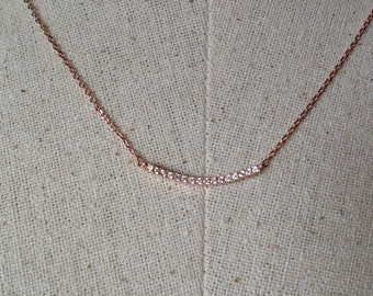 Pavé Bar Necklace in Rose Gold, Dainty Bar Necklace