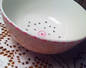 Hand Painted Pink Dog Bowl