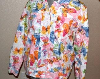 Vintage  designer Alfred Dunner Petite jacket button up butterflies jacket  cotton jacket 90s   Size 14P Summer Fashion