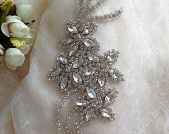 crystal rhinestone applique,rhinestone applique bridal sash applique, wedding belt applique