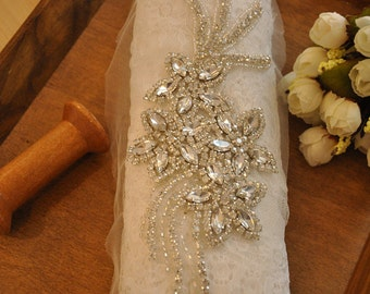 crystal beaded applique rhinestone applique for bridal sash, wedding belt, bridal headband