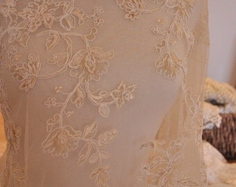 Bridal Alencon Lace Fabric in Champagne, Gold Thread Embroidery Bridal Lace Fabric