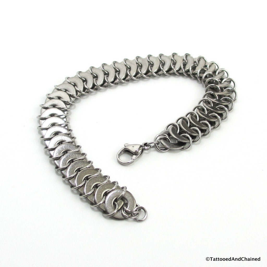 Washer chainmail bracelet stainless steel jewelry for men or