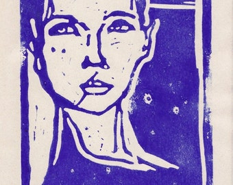 linocut original blue female portrait on japanese paper, either white in A4 format or brown in B5