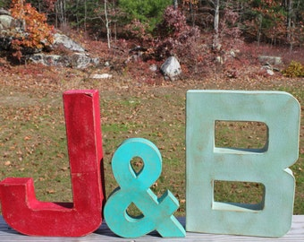 """Painted Letters. 12"""" Painted Letters with 8"""" Ampersand (&) Vintage Inspired Letter Decor. Typography. Custom Gift. Wedding Gift."""