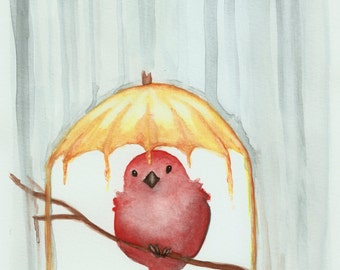 "Red Bird Art Print - Yellow Umbrella - Happy Bird - Red and Yellow - 8"" x 10"" Art Print - Watercolor Art - Babys Room - Nursery Art - Child"