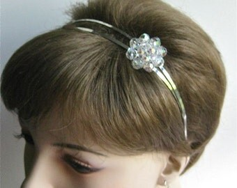 Silver double headband with crystal focal point, silver bridal headband with AB finish crystal cluster, wedding headpiece