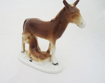 Porcelain Horse with Foal (Baby) Figurine, East Germany Porcelain Horse Figurine, UK Seller