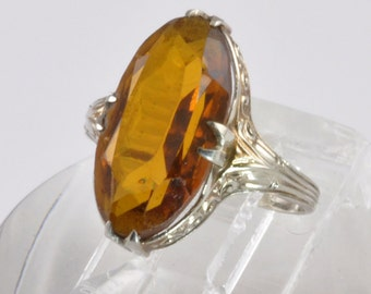 Vintage Belais Ring - 1920's 10K White Gold Ring with Citrine Color Gemstone  - Art Deco Ring - Size 4.5 - November Birthstone