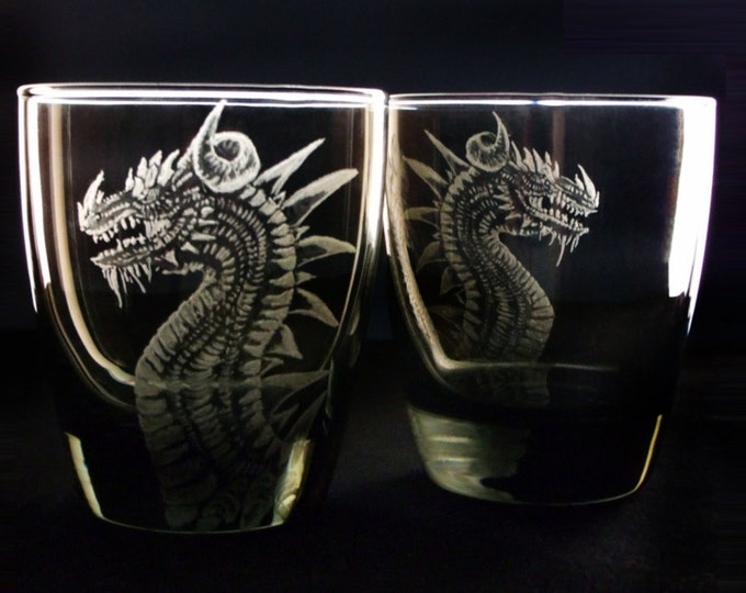Tumblers Black Glass Tumbler set - Hand engraved glass - etched glass -engraved glass - dragon glass -dragon barware - Gifts For Him -