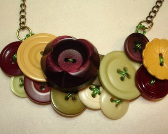 TUSCAN HOLIDAY- BAKELITE  - Vintage Button Necklace -  Vintage Button Jewelry -Tuscan colors - burgundy, yellow, green and more