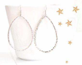 Silver Hammered Earrings Open Circle Earrings, Silver Oval Earrings