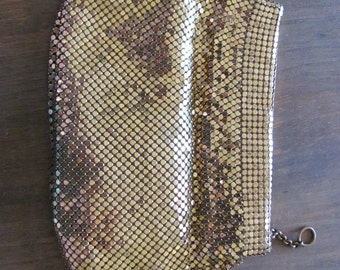 Vintage WHITING AND DAVIS Gold Metal Mesh Pouch / Bag / Case