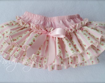 Beautiful Parley Ray Baby Pink Vintage Rose Ruffled Baby Bloomers/ Diaper Cover / Photo Props Baby Pink