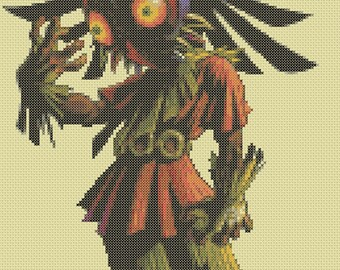 Skull Kid wearing Majora's Mask cross stitch pattern