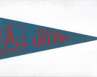 Vintage Football NFL Houston Oilers Football Team vtg Felt Pennant Collectibe Vintage 1970s Era Display Sports Football Team vtg Sports