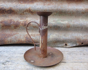Vintage Hand Held Candle Stick Candle Holder Primitive Styled Rustic  Metal Candle Holder Country Decor Old Rustic Farmhouse Item