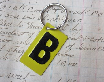 Vintage Metal Letter B Sign Name Initial B Keychain Letter Tag Industrial Sign Black & Yellow Metal Sign Key Chain Fob vtg Upcycled Key Tag