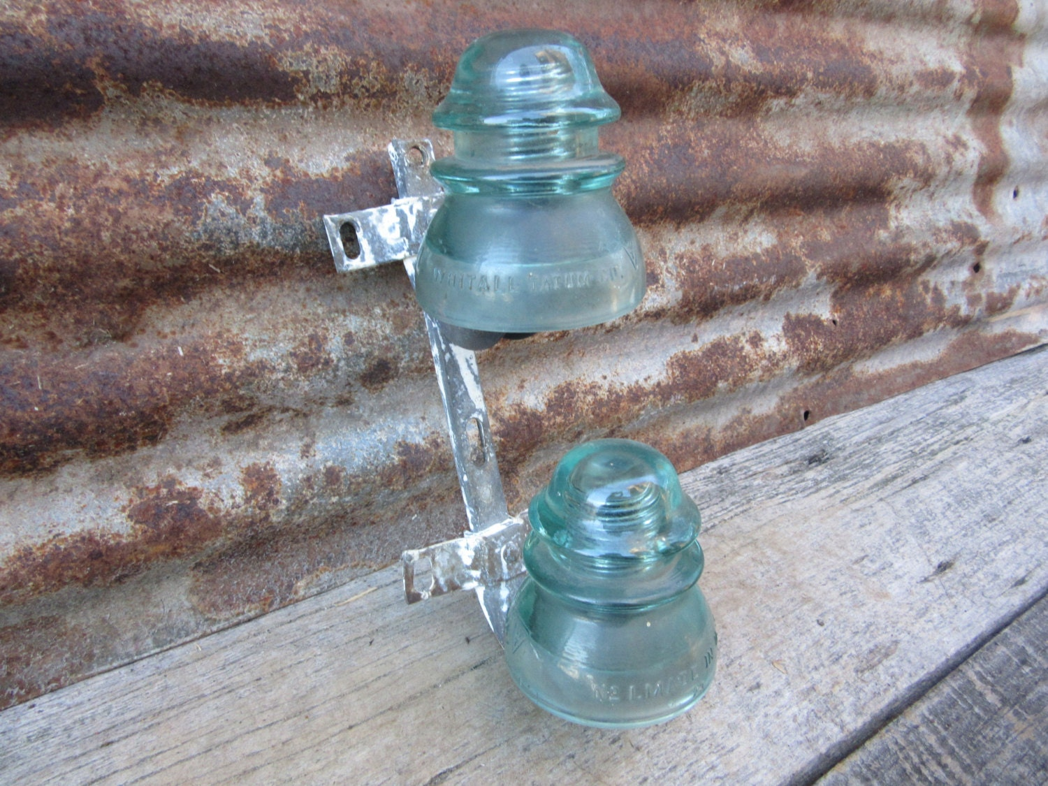 vintage telephone pole glass insulators blue by