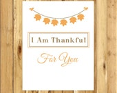 Thanksgiving Quote Art - I am Thankful For - harvest decor - message art print - printable art - for charity