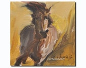 Western HORSE  portrait Original Oil Panel Painting 6x6""
