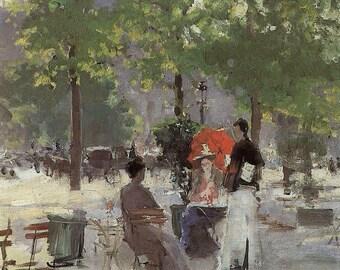Impressionist Fine Art Print by Konstatin Korovin The Cafe---1860