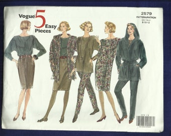 Vogue 2579 Loose Fitting Hooded Jacket Tapered Pants, Skirt & Dress Five Easy Pieces Size 8..10..12 UNCUT