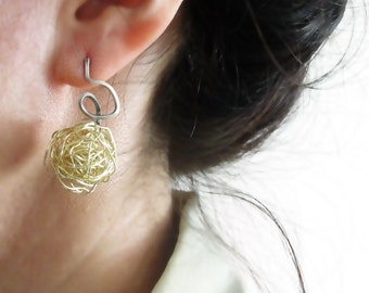 Wire Ball Earrings, Sterling Silver & Gold Plated Copper, Tangled Earring, Stud, Knot Earring, Wire Wrapped, Modern, Handmade with Order