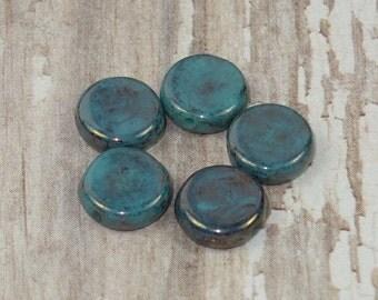 Blue 8mm Coin Bead Czech Glass Picasso Metallic BUBBLES (20)