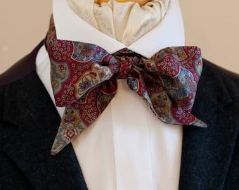 Wine Red Floral and Bird Design Vintage Italian Silk Victorian Bow Tie