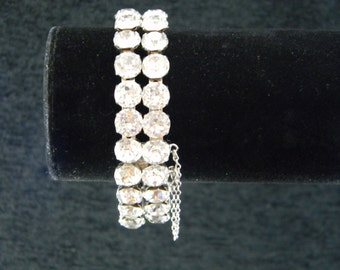 Vintage Double Strand Rhinestone bracelet with chain silver tone